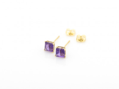 AMETHYST SQUARED | Solid Gold ear studs