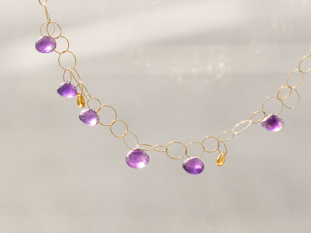 PURPLE DREAM | Amethyst Gold necklace with Citrines