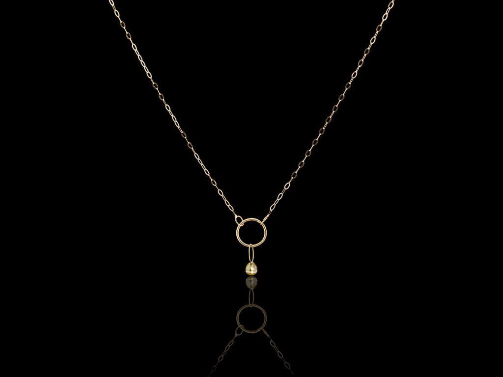 YELLOW DIAMOND CIRCLES | Solid Gold necklace