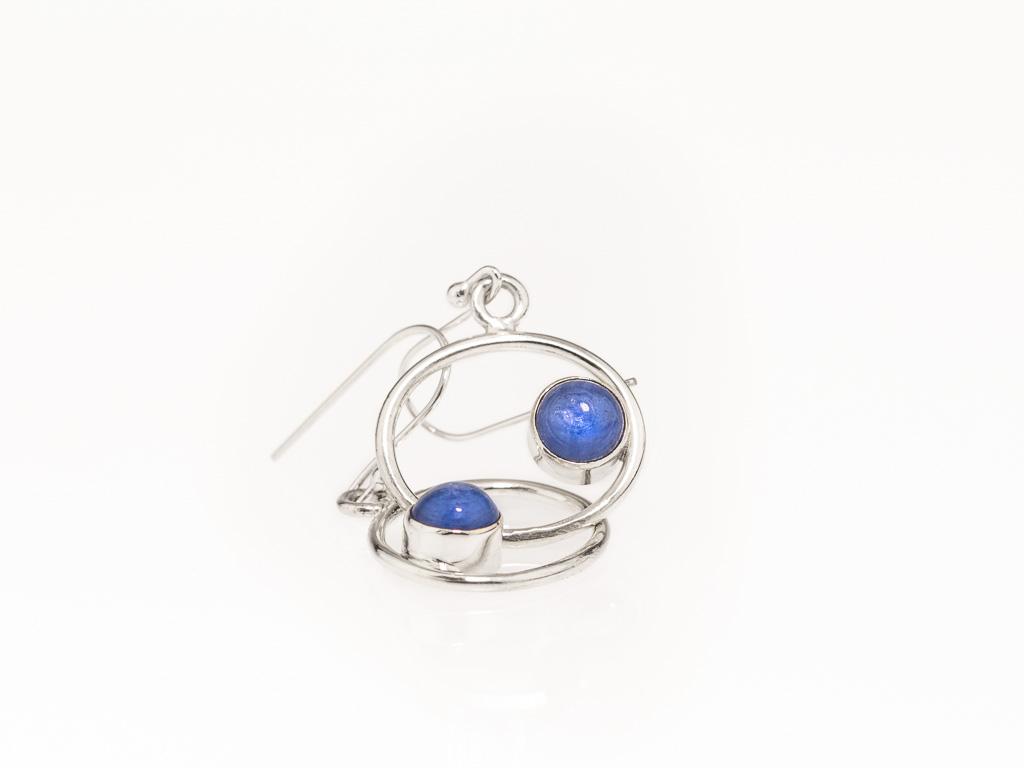 CIRCLING KYANITES   Dangly earrings in Sterling Silver