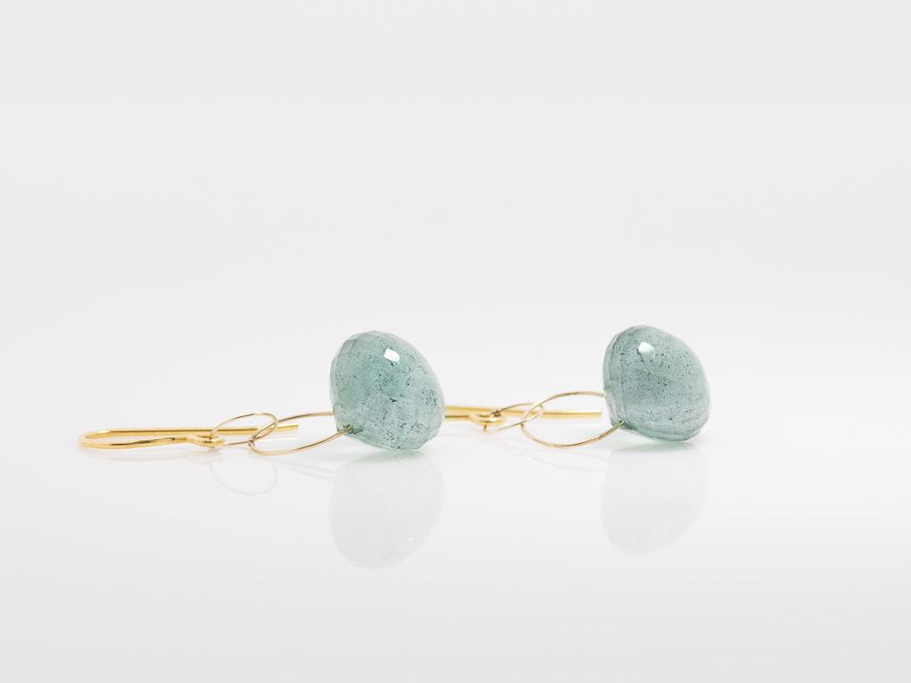 MOSS AQUAMARINE | Solid Gold earrings