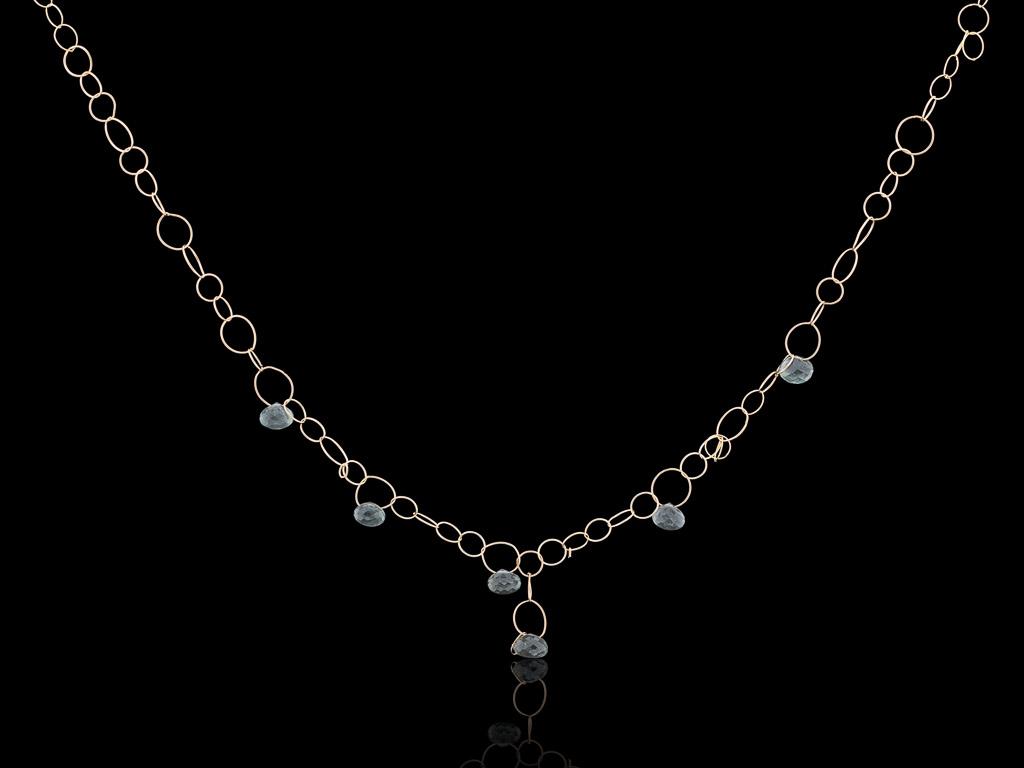 MOSS AQUAMARINE   Solid Gold necklace