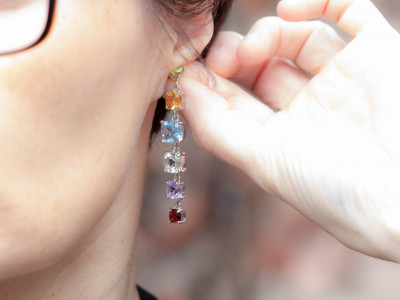 FIREWORK   Earrings with 6 precious stones in Silver (sold)