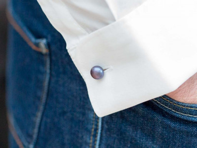 DARK PEARLS | Sterling Silver cufflinks with real Peacock Pearls
