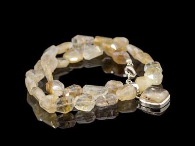CRYSTALS OF VENUS | Rutilated Quartz necklace set in Sterling Silver