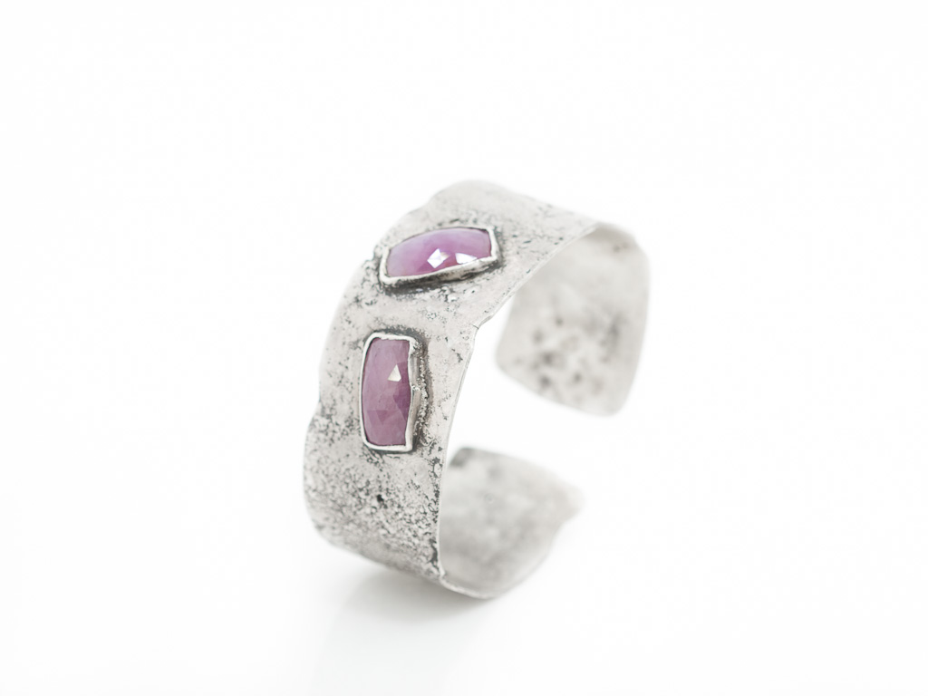 PINK SAPPHIRE | Reticulated Sterling Silver cuff