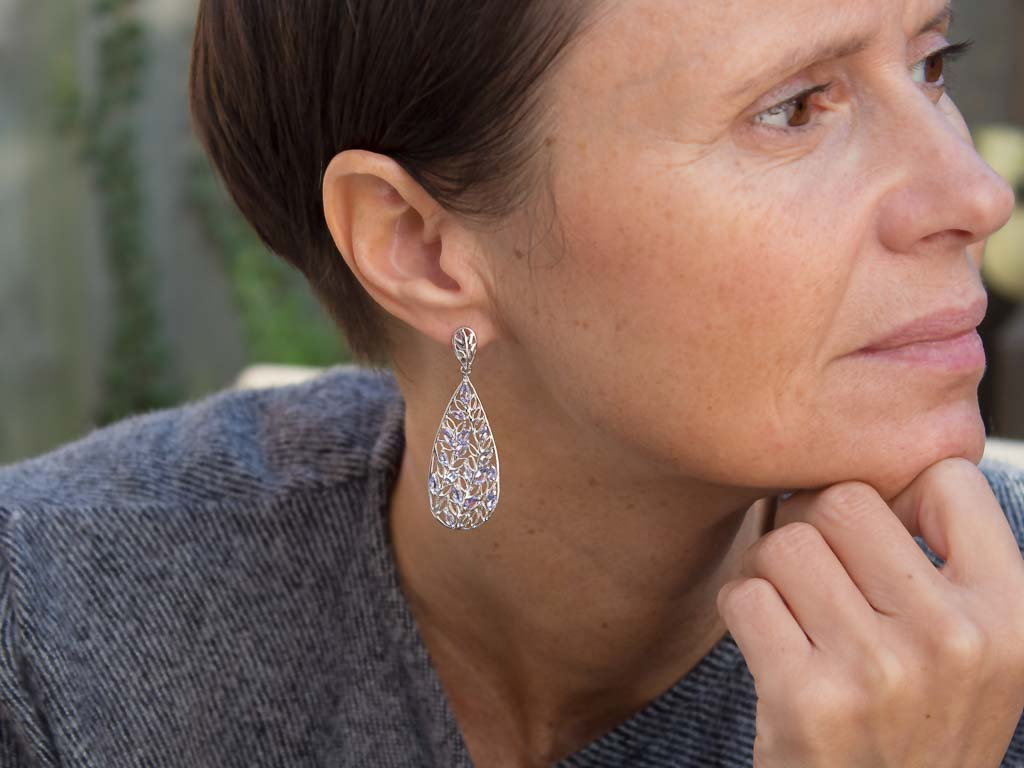 FILIGREE WITH 17 TANZANITES | Sterling Silver earrings