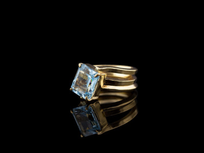 SKY TOPAZ TRIPLE │ Silver ring with Gold vermeil
