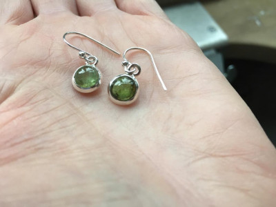 DARK GREEN TOURMALINE | Sterling Silver earrings (custom order)
