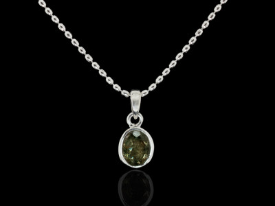 FANCY TOURMALINE | Sterling Silver necklace with a large Green Tourmaline (sold)