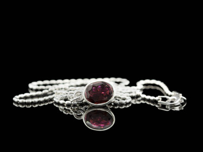 FANCY TOURMALINE | Sterling Silver necklace with a large Pink Tourmaline