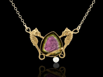 CALYPSO | Solid Gold necklace with Seahorses nestling a Watermelon Tourmaline (made to order)