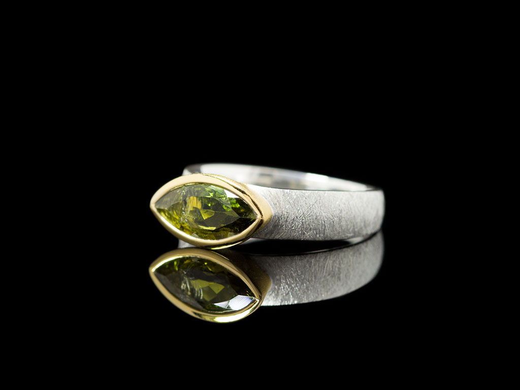 MARQUISE TOURMALINE | Sterling Silver ring with Gold details and a Green Tourmaline (sold)