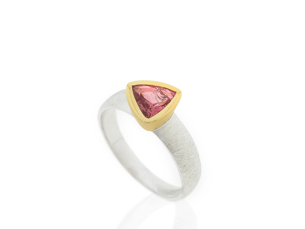 RED TRILLION   Tourmaline Sterling Silver ring with Gold details