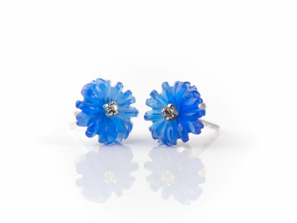 Blue Agate Cornflower | Sterling Silver ear studs with Zircon CZ hand carved (sold out)