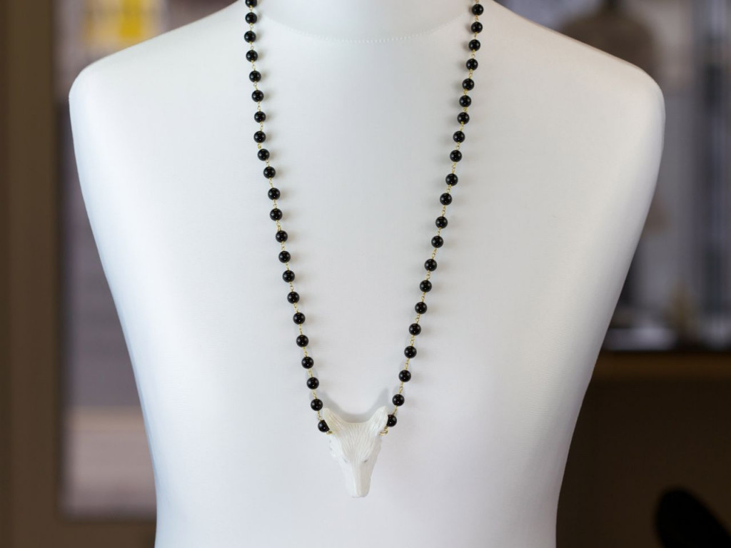 Wolf Whisperer | Black Onyx Gold necklace with handcarved solid white Agate Wolf's head pendant (sold out)