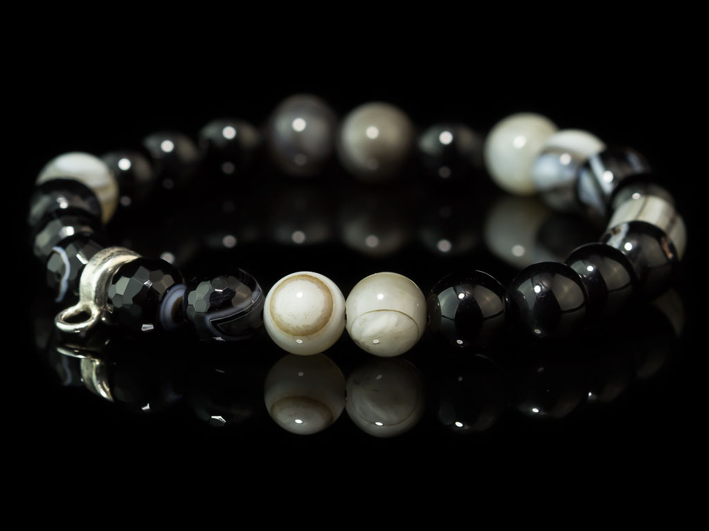 JUPITER AGATE SPHERES | Bracelet with smooth and faceted spheres (Sold out)