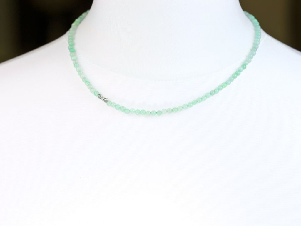 Amazonite Smooth | Necklace with 3 Sterling Silver pearls (sold out)