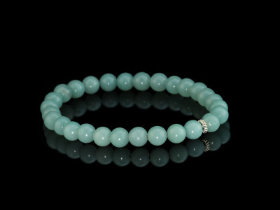 SMOOTH SHINY AMAZONITE | Bracelet with Sterling Silver Element (sold out)