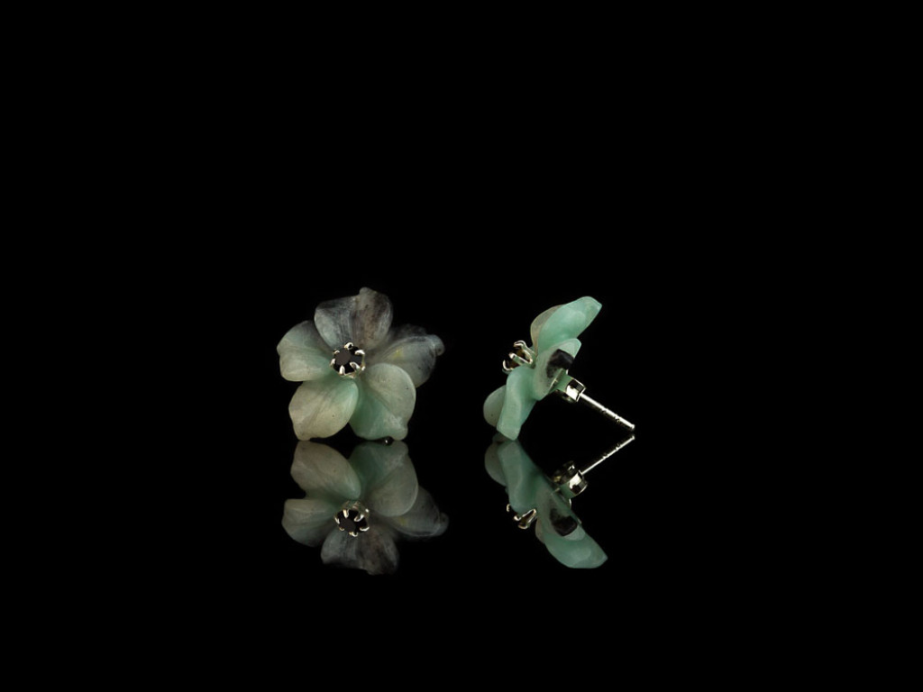 AMAZONITE FLOWERS | Ear studs Sterling Silver with CZ | interchangeable (Sold out)