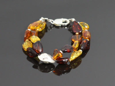 ROCK AMBER | Bracelet with a Sterling Silver nugget (sold)