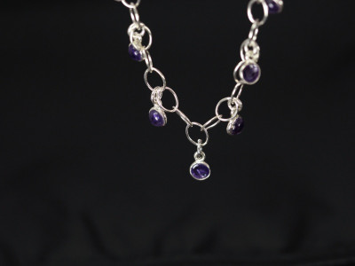 Amethyst Bubble - Sterling Silver bracelet (made to order)