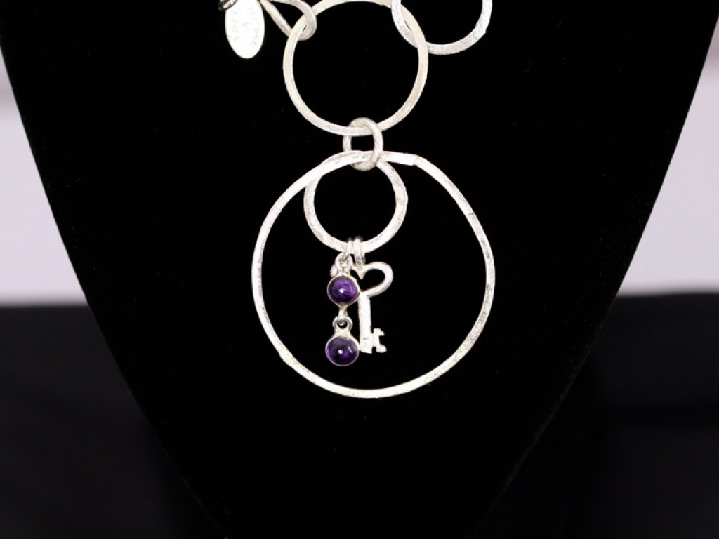 Amethyst Loops Key - Sterling Silver necklace (sold out)