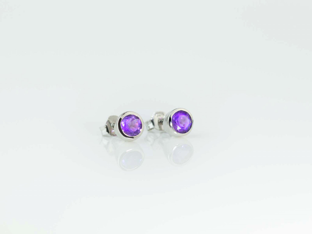 Amethyst shiny cups | Sterling Silver earstuds rhodium-plated (sold out)