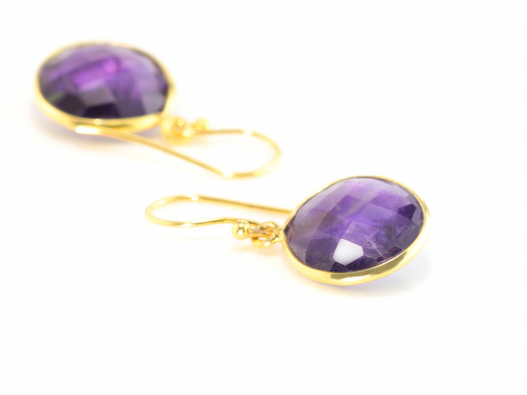 Dangly Amethyst Gold earrings with round faceted discs (sold out)