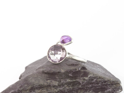 DOUBLE AMETHYST | Open Sterling Silver ring with 2 stones (Sold Out)