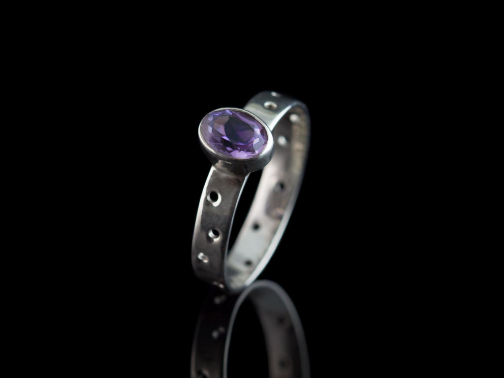 Oval See-Through Amethyst Ring | Sterling Silver with dots