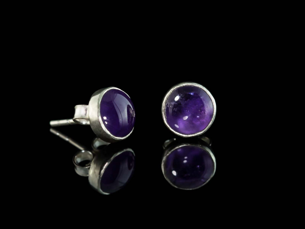 Smooth Round Amethyst | Sterling Silver ear studs (sold)