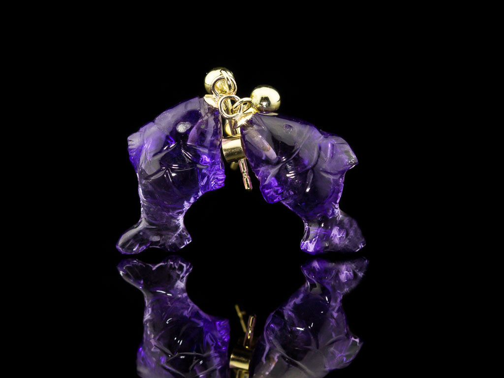 AMETHYST FISH   Handcarved 9ct Gold earrings (made to order)