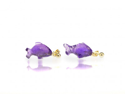 AMETHYST FISH | Handcarved 9ct Gold earrings (made to order)