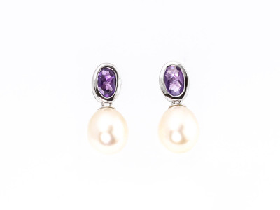 Amethyst with Pearl | Sterling Silver earrings rhodium plated (Sold Out)