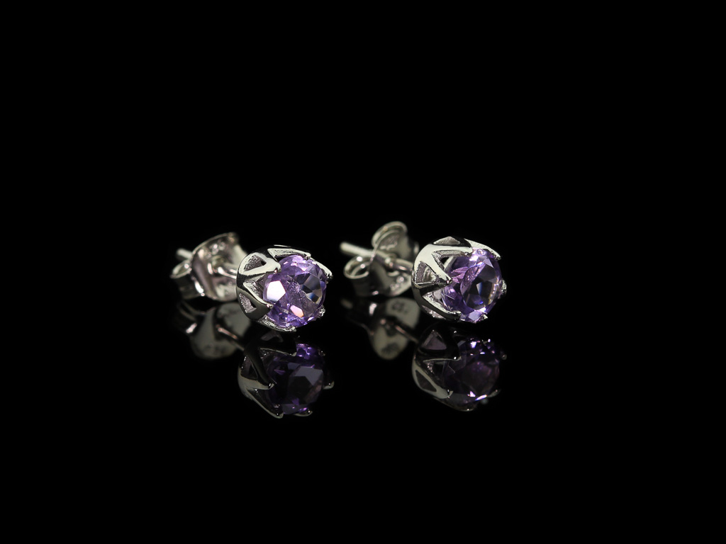 AMETHYST SPARKLE | Rhodium plated Sterling Silver ear studs (sold)