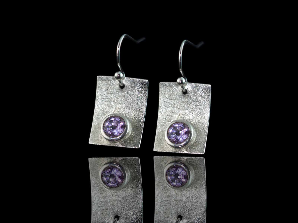 Amethyst Rectangles | brushed Sterling Silver earrings (sold out)