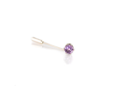 Lapel Pin with Amethyst in Sterling Silver | tie pin | brooch (sold out)