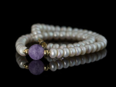 PEARL COLLIER WITH AMETHYST | Necklace with Gold vermeil details (sold out)