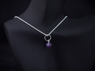 SPARKLE & AMETHYST   Sterling Silver diamond-cut necklace (Sold Out)