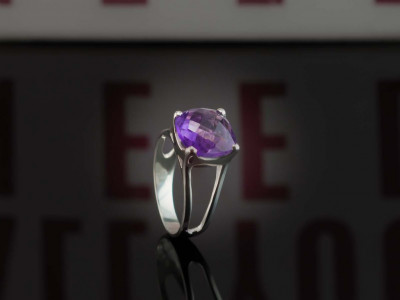 Purple Valentine Amethyst | Ring from rhodium plated Sterling Silver (Sold out)