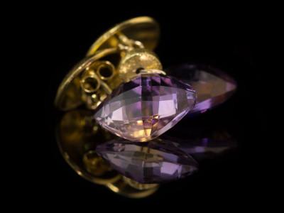 DUAL ELEGANCE   Earrings with Ametrine in Gold vermeil (Sold out)