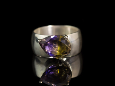DUAL ELEGANCE  CUSTOM| Sterling Silver Cocktail ring with large Ametrine (Sold out)