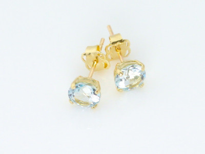 Aquamarine Gold faceted earstuds (Sold out)