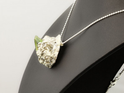 Necklace with an Aquamarine cluster in a crystal matrix pendant cast in Sterling Silver