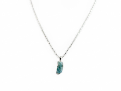 Blue Lagoon Pendant | long raw Aquamarine on polished Sterling Silver (sold out)