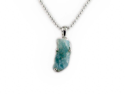 Blue Lagoon necklace | long raw Aquamarine on polished Sterling Silver (sold out)
