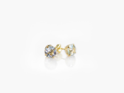 AQUAMARINE SPARKLE | Gold faceted earstuds in 5mm (made to order)