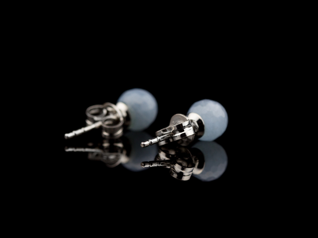 AQUAMARINE SPHERES | Sterling Silver ear studs