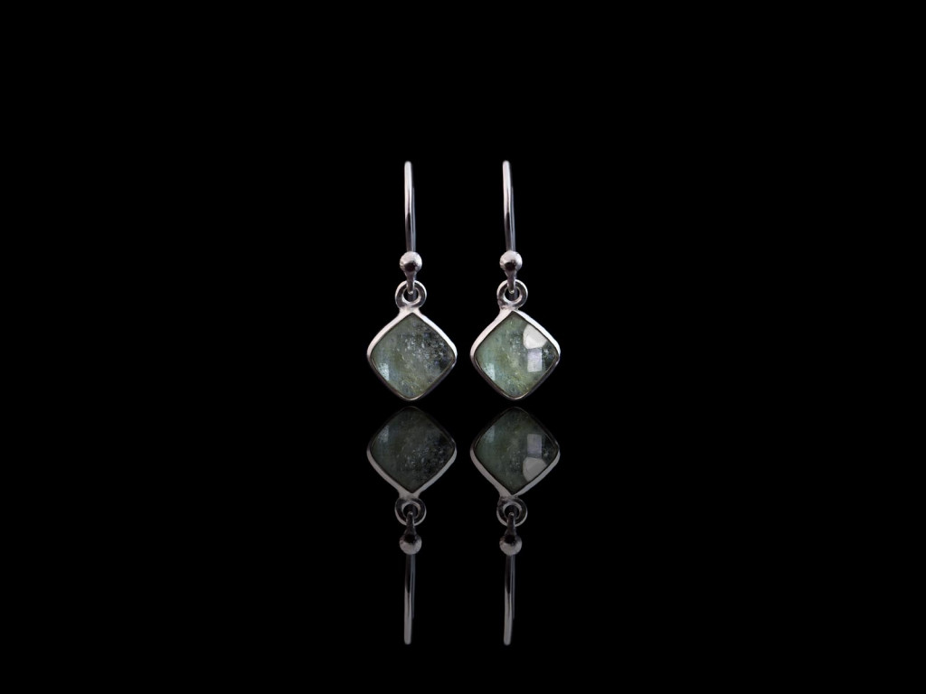 Aquamarine Square dangly earrings | Sterling Silver (sold)